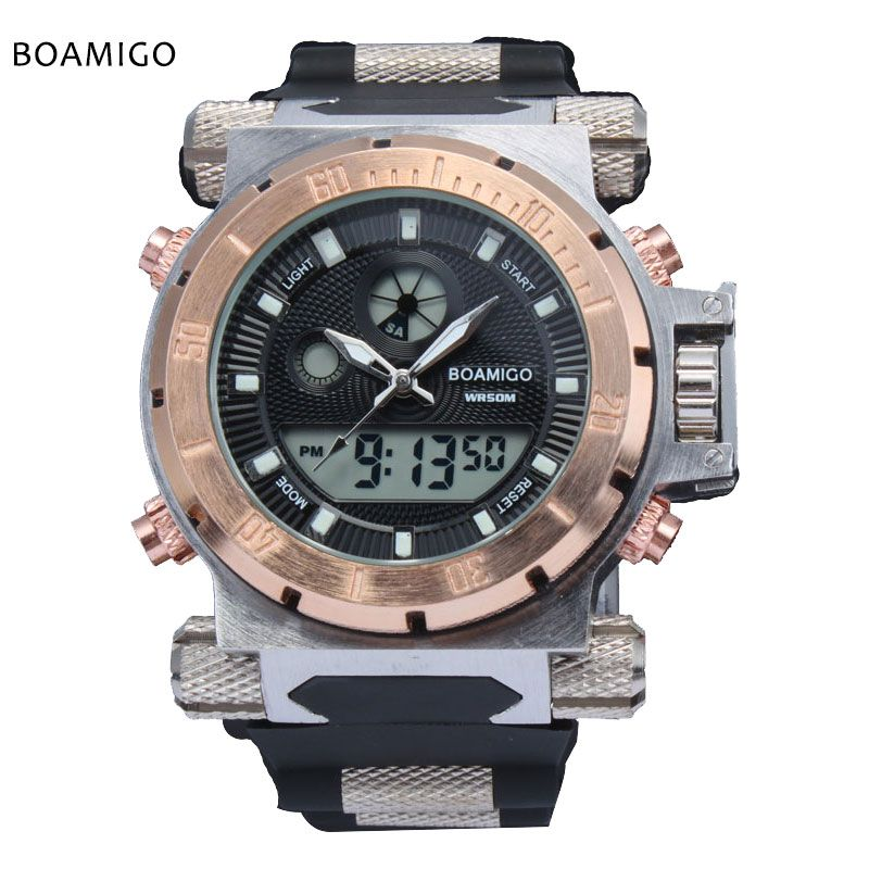 luxury BOAMIGO brand Men military sports watches Dual Time Quartz Digital analog Watch rubber band wrist watch relogio masculino