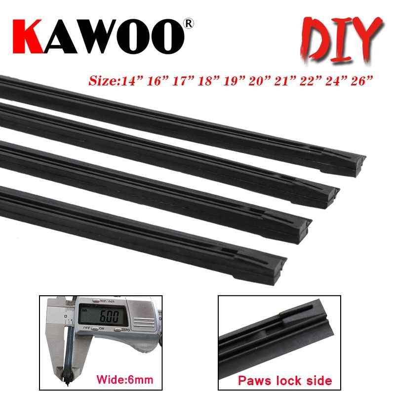KAWOO Car windscreen Wiper Blade Insert Natural Rubber Strip 6mm (Refill) 14
