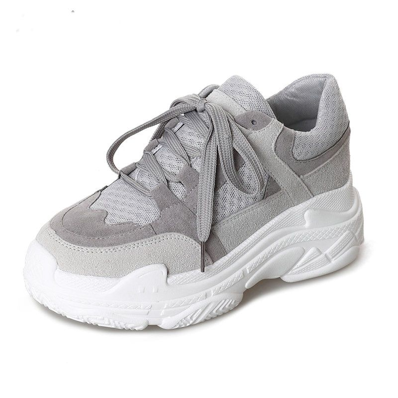 2018 New Arrived Spring Women running shoes air mesh Western Style Platform wedge Grey Flats wedge lady girl walking boots