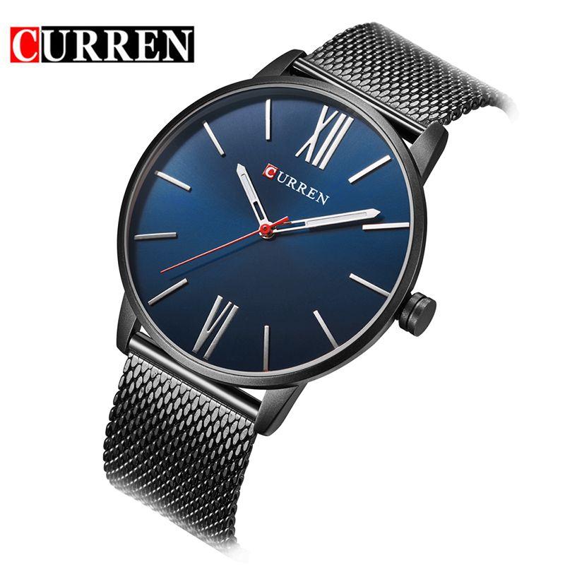 CURREN Brand 8238 Simple Minimalism luxury Quartz wrist Watches for men relogio masculino black / gold stainless steel WATCH N9