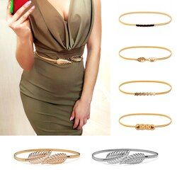 Flower Leaf Shape Belts For Women Wedding Designer Elastic Girl Stretch Skinny Waist Belt Cummerbunds Metal Female Belt ceinture