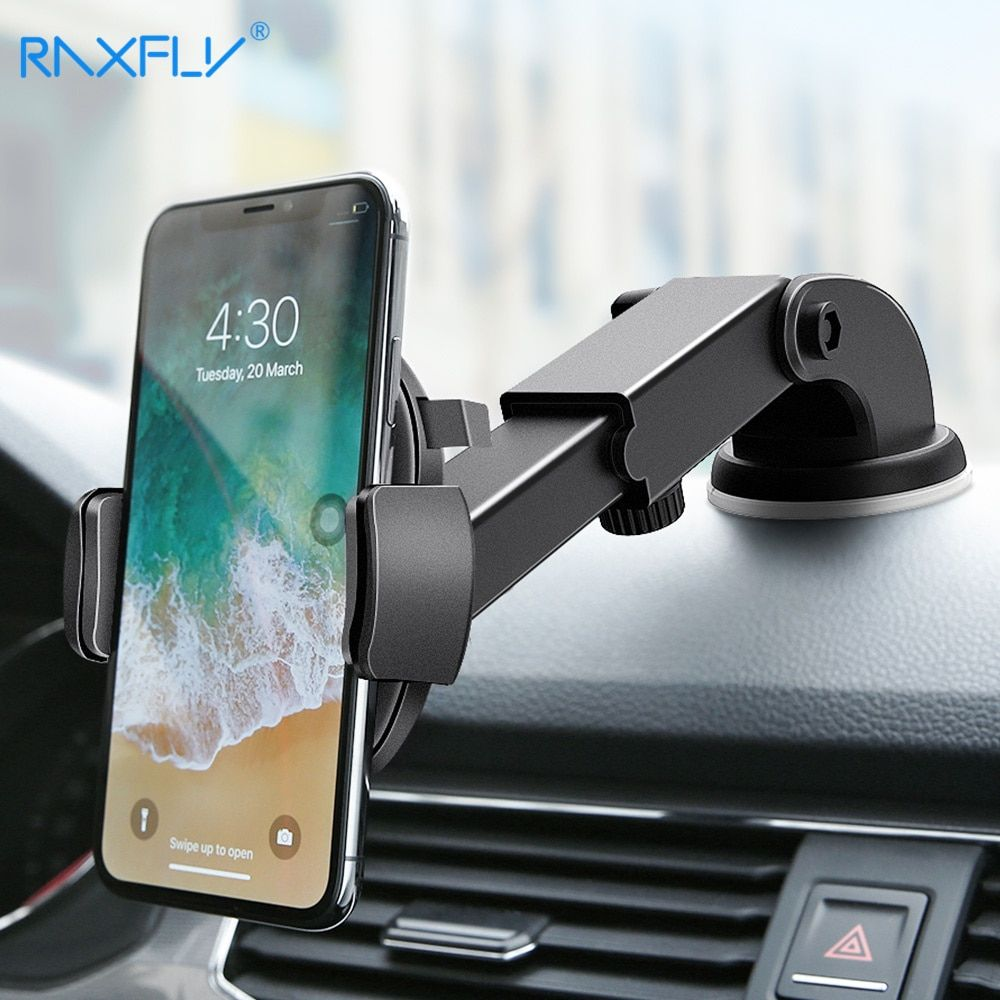 RAXFLY Luxury Car Phone Holder For iPhone X 9 8 7 6 Plus Windshield Mount Phone Stand 360 Rotation Car Holder For Samsung S9 S8