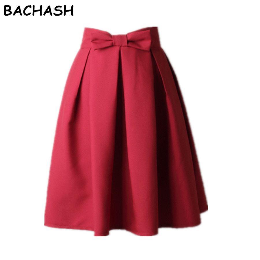 BACHASH Elegant Women Skirt High <font><b>Waist</b></font> Pleated Knee Length Skirt Vintage A Line Big Bow Red Black Side Zipper Skater Skirts Red