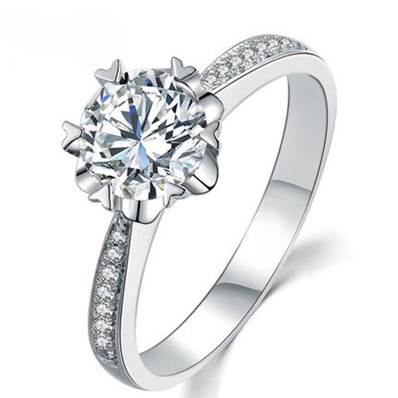ANI 18 Karat Weißgold (AU750) frauen Hochzeit Ring 0,3 CT Certified I/SI Rundschnitt Diamant Herzform Prong Romantische Valentines Ring