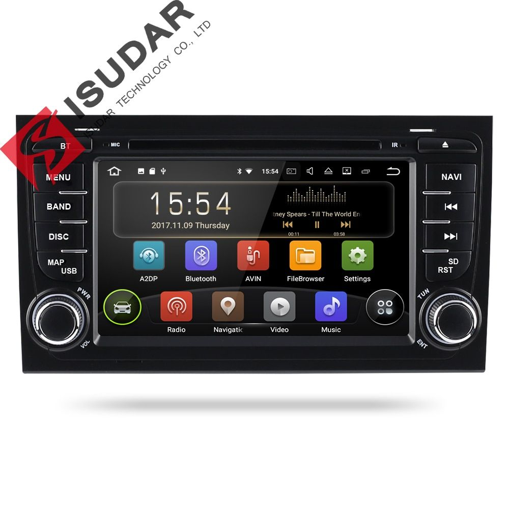 Isudar 2 Din Car Multimedia Player GPS Android 8.1.0 DVD Automotivo For Audi/A4/S4 2002-2008 Radio Quad Cores RAM 2GB ROM 16GB