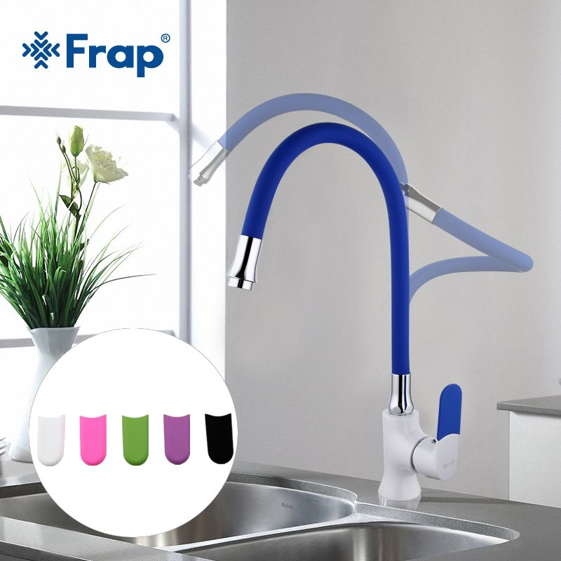 Frap Multi-color Silica Gel Nose Any Direction Kitchen Faucet <font><b>Cold</b></font> and Hot Water Mixer grifo cocina White Spray paint F4034
