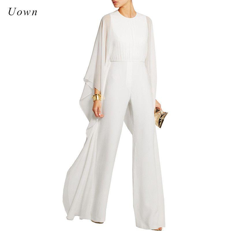 Femmes combinaisons pantalons longs barboteuse mousseline de soie à volants Flare manches longues fête combinaisons noir blanc jambe large combinaison soirée tenues