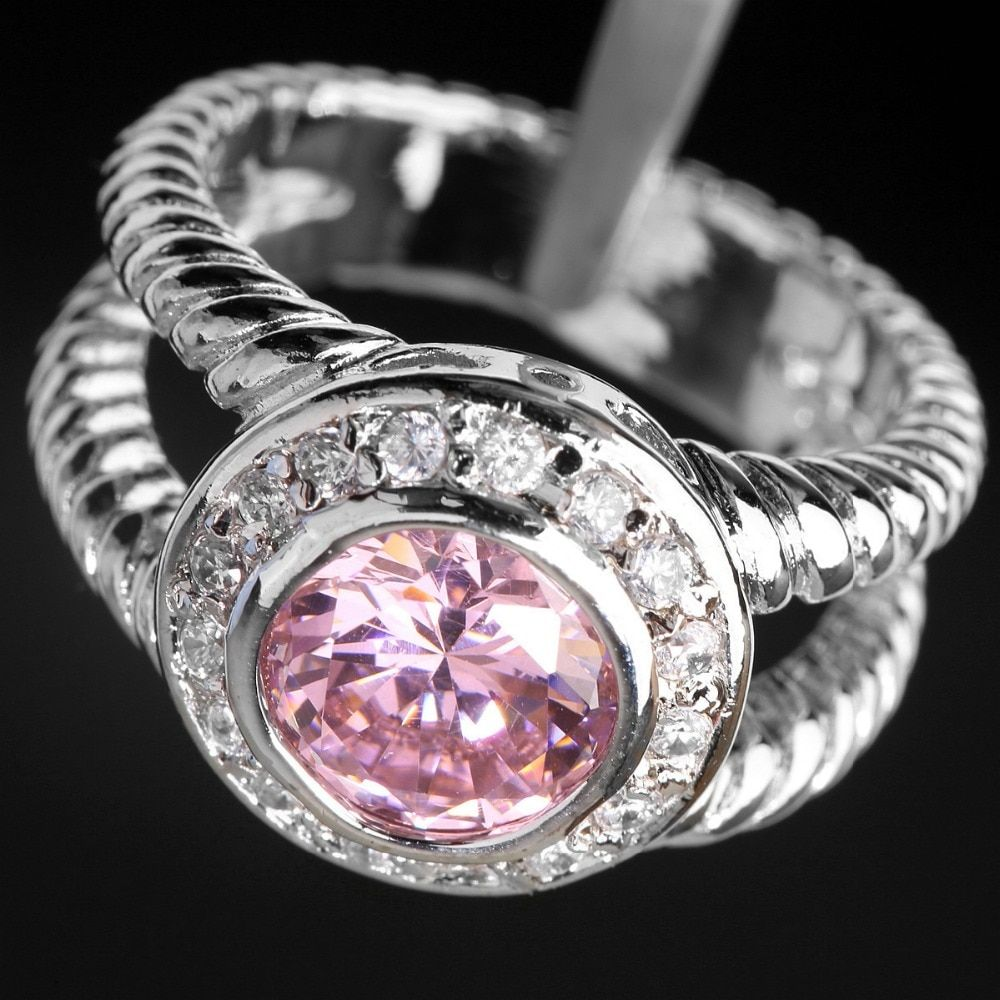 Valuable Pink Kunzite 8*8mm Semi-precious Stone Silver Cool For Women Ring Q1829