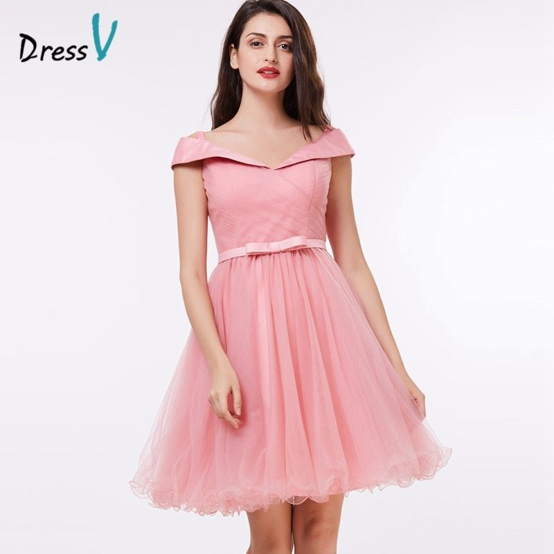 Dressv pink knee length homecoming dress sexy off the shoulder a line short graduation cocktail dress elegant homecoming dress