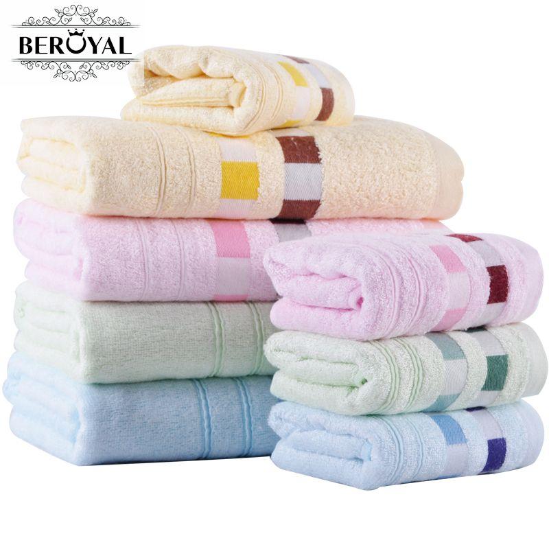 Beroyal Brand Bamboo Towel Set - Hand Face Towel+ Bath Towels for Adults Summer Beach Bathroom Super Absorbent bath towel set