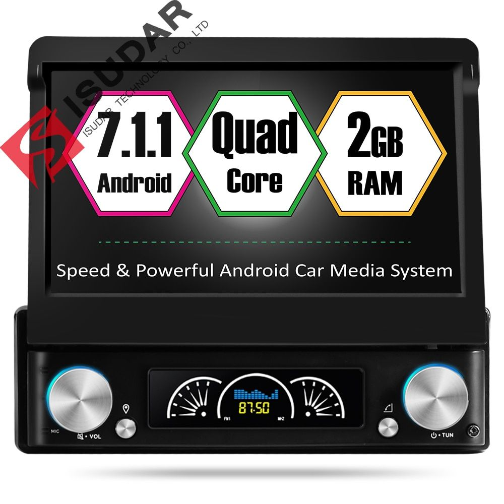 Isudar Universal Car Multimedia player 1 din android 7.1.1 7 Inch Detachable Multi touch Screen 4K Video Stereo Radio Unit GPS