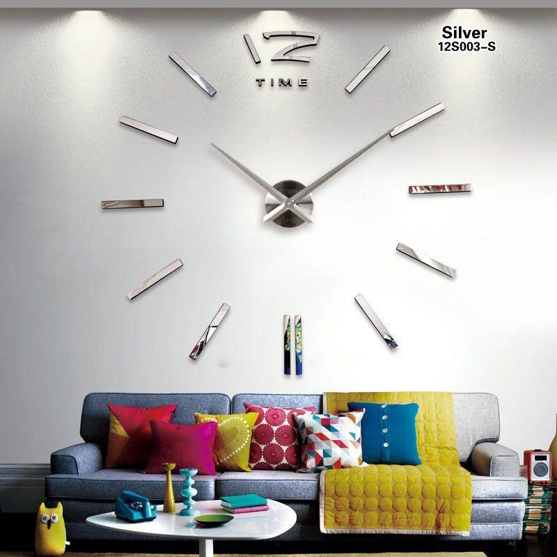 2019 nouvelle mode 3D grande taille horloge murale miroir autocollant bricolage horloges murales décoration de la maison horloge murale salle horloge murale