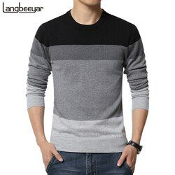 2019 Baru Musim Gugur Merek Fashion Kasual Sweater O-neck Bergaris Slim Fit Knitting Pria Sweater dan Pullovers Pria Pria Pullover M-5XL