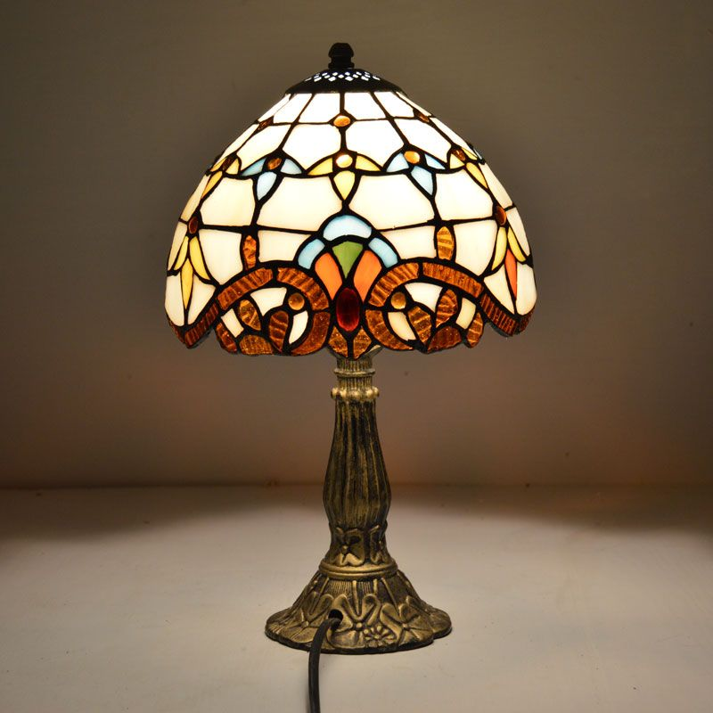 Tiffany Table Lamp 8 Inch Classic European Baroque Stained Glass Bedside Lamp E27 110-240V