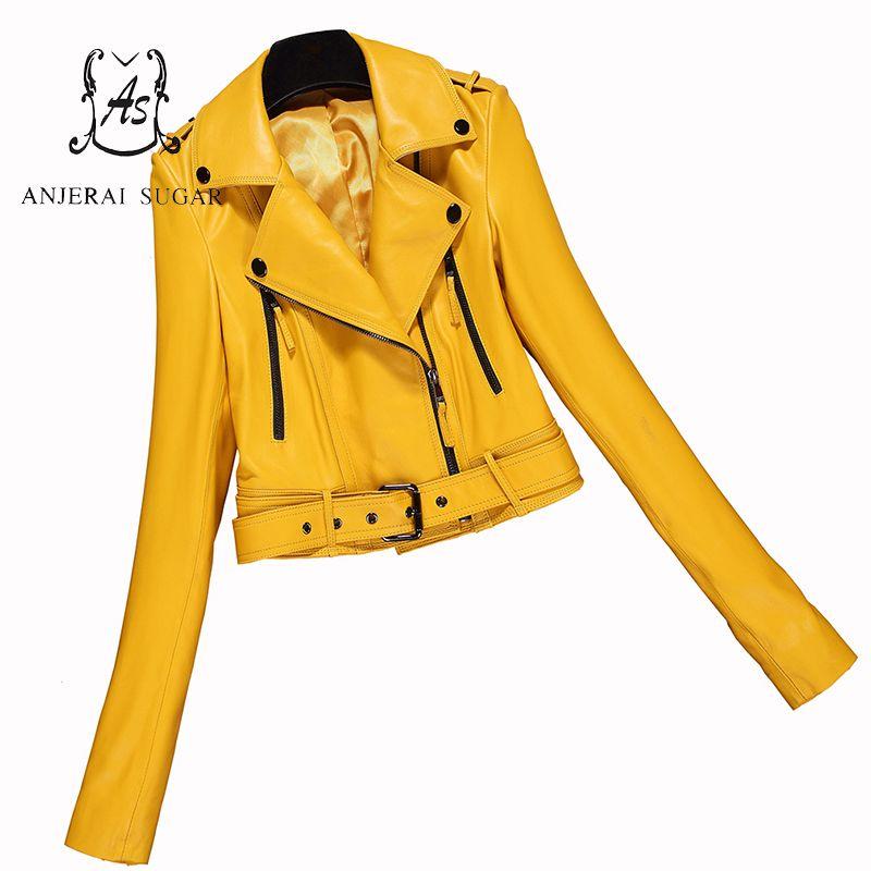 Frühling herbst Kurz echtem leder jacke Frauen schaffell motorrad kleidung femalekorea sexy dünne OL Reißverschlüsse design Jacke
