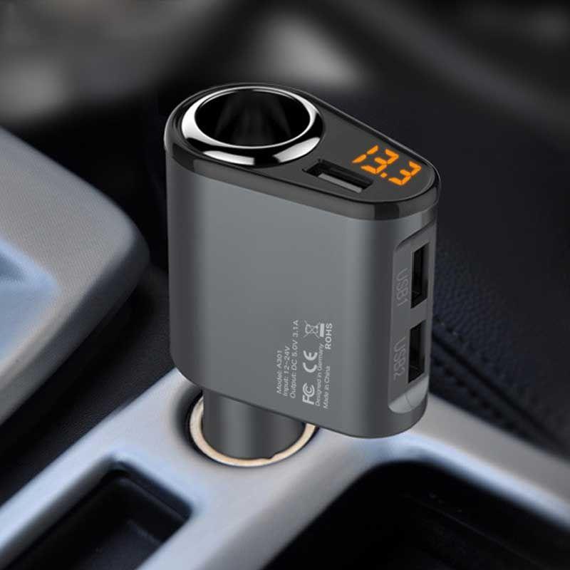 Chargeur de voiture 3 USB Ports 5 v 3.1A Voiture-Chargeur 1 Prise Allume-cigare Splitter Chargeur Rapide pour mobile téléphone iPhone 7 Huawei