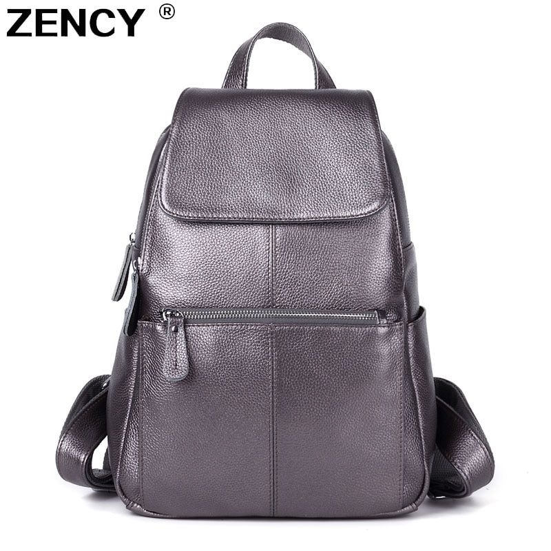 100% Genuine Leather <font><b>Women</b></font> Backpack Real First Layer Cow Leather Ladies Backpacks Travel ipad Cowhide Female Bags Silver Color