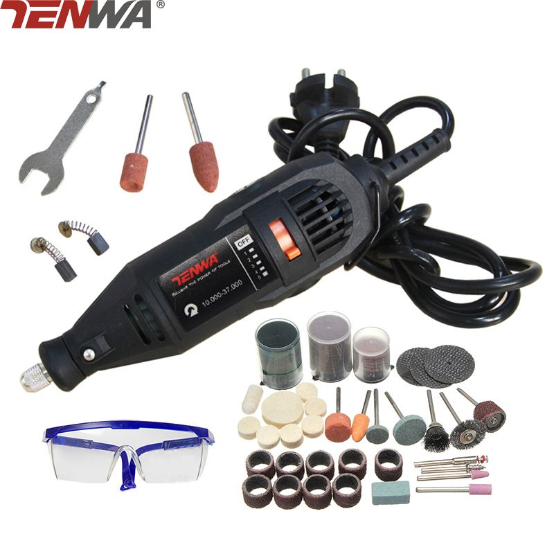 TENWA Mini Drill Dremel Style Electric Rotary Tool Engrave Grinder Variable Speed With 111pcs Accessories DIY Kits