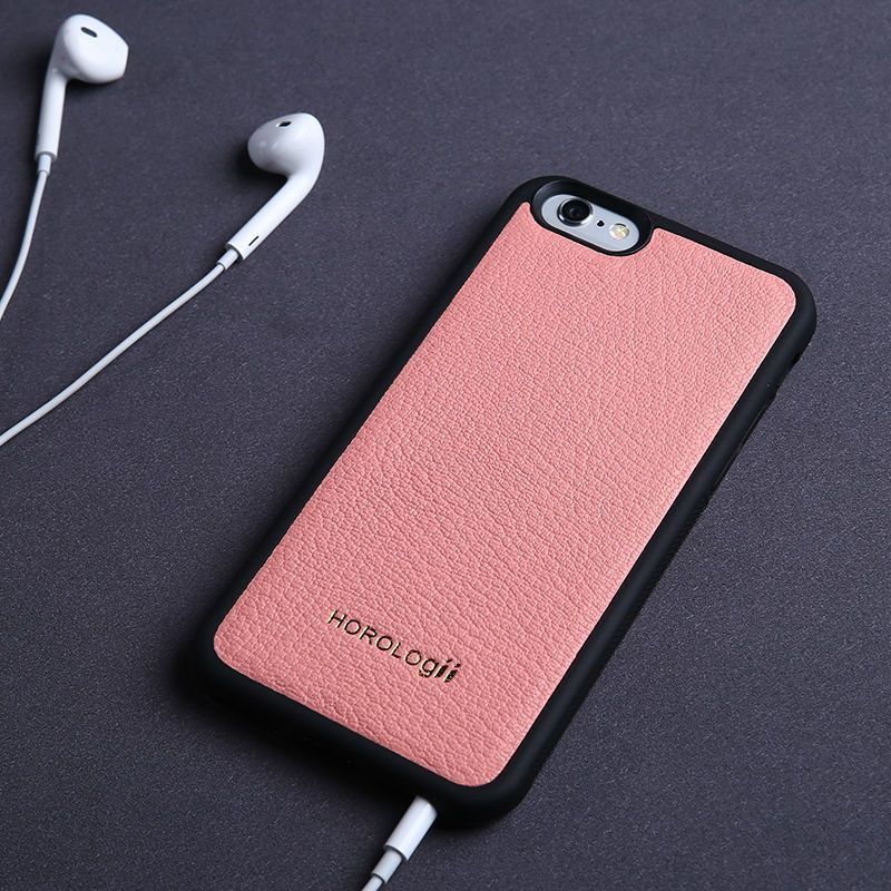 Horologii mode housse arrière en cuir véritable coque de téléphone pour iphone X Xr 7 plus bonbon couleur chèvre coque peau nom personnalisé service