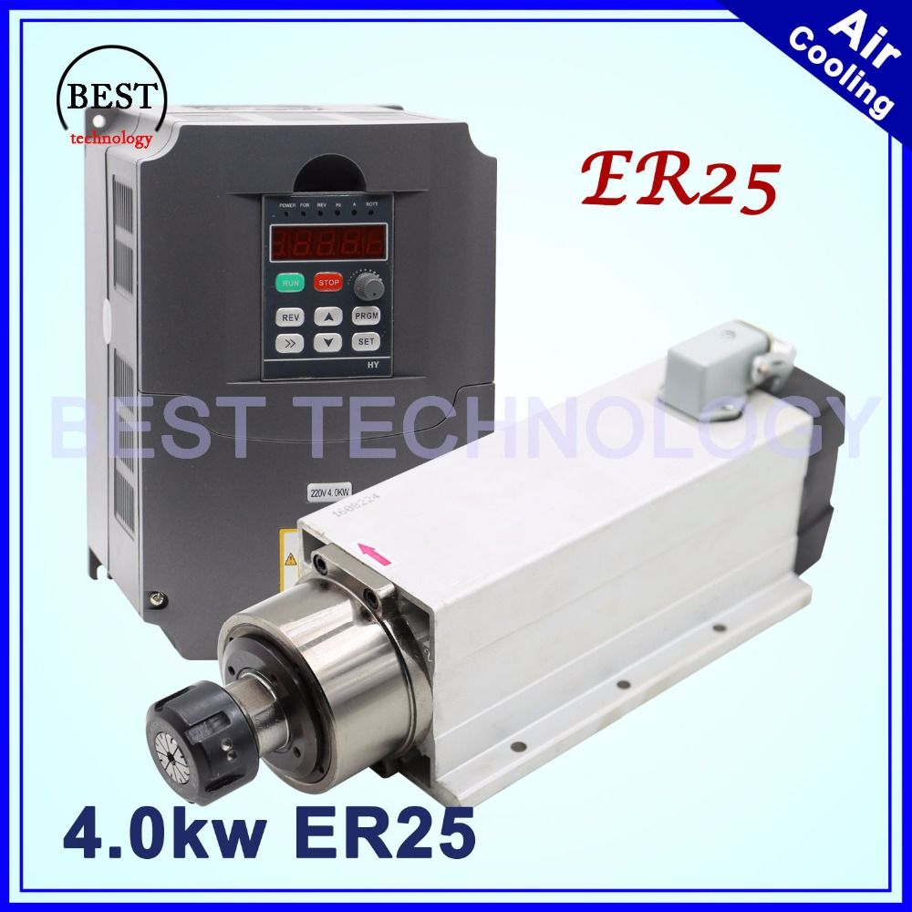New arrival! 4kw ER25 air cooled spindle motor air cooling 18000rpm 4.0kw 4 bearings 220v/380v square spindle & 4.0kw Inverter