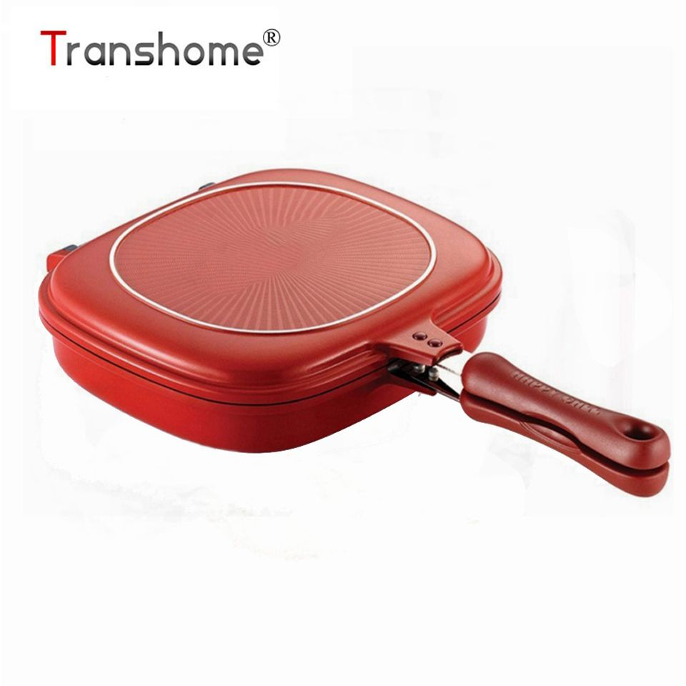 Transhome Poêle 28 cm Double Side Grill Pan Ustensiles de Cuisine En Acier Inoxydable Double Face Pan Steak Oeufs Fry Pan Cuisine accessoires