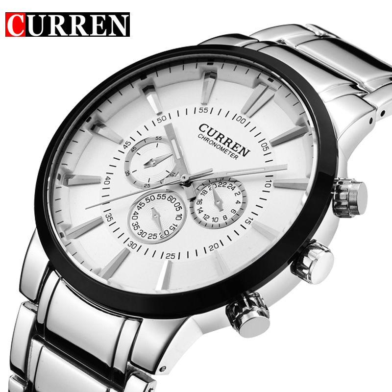 Curren Fashion Big dial Casual quartz watch Men's stainless steel Military Wristwatch waterproof Brand Relogio Masculino Male