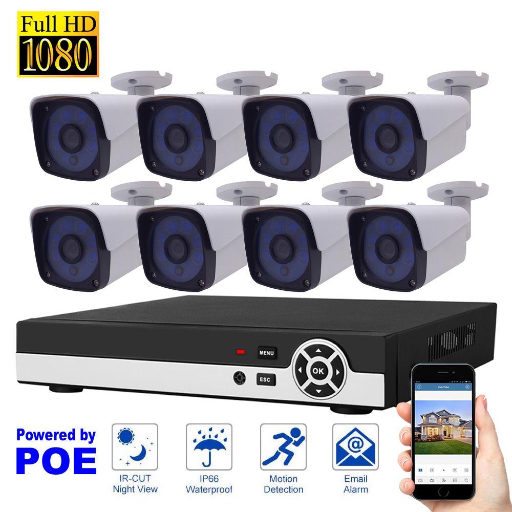 8CH 1080 P POE NVR Kit Réseau Sécurité Système D'enregistrement Vidéo H.264 P2P Nuage Détection de Mouvement HDMI Accueil Surveillance Caméra IP ensemble