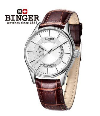 Brand Binger Luxury Leather Automatic Mechanical Watch Hollow Dial Leather Watch band Wristwatch Best Birthday Gift watches