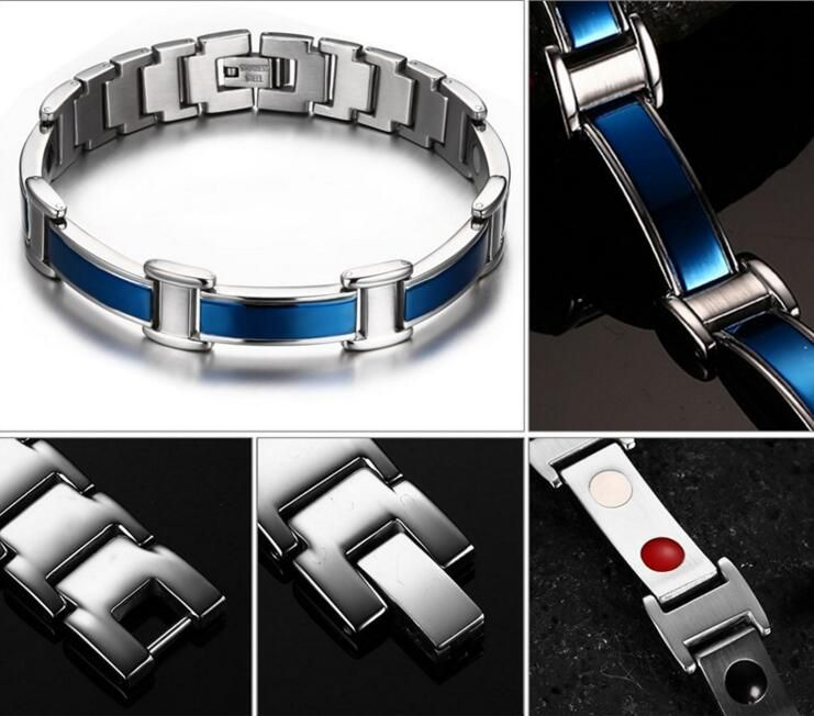 new Brand Design Fashion Health Energy Bracelet Bangle Men 316L Stainless Steel Bio Magnetic Bracelets Black And Gold Jewelry