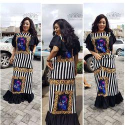 (Livraison Gratuite) 2017 Nouveau Mode Bazin Imprimer Dashiki Yamadou Élastique Manches Lâche Style Robe Traditionnelle Africaine Pour Les Femmes