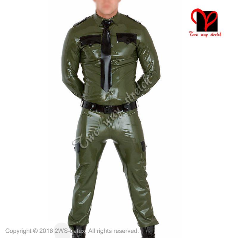 Militay Polizei Latex einheitliche Hosen taste umlegekragen tasche t-shirt Gummi Gummi bluse kleidung kleidung XXXL TZ-014