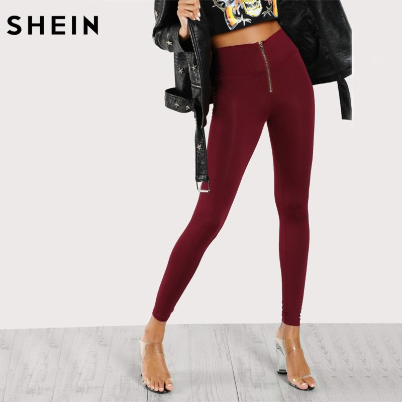 SHEIN Leggings Women Workout Clothes for Women Burgundy High Waisted Zip Front Leggings Casual Fitness Clothing