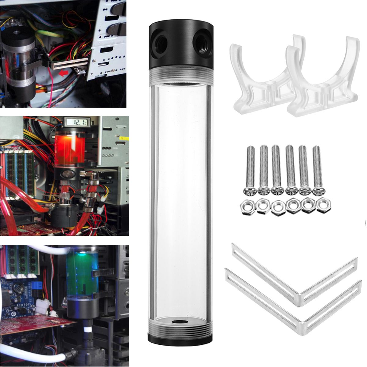 LEORY G1/4 T 50 x 240mm Water Cooling Tank Reservoir Helix Suspension Liquid Cooling Tank PC Computer Water Cooling Fan For CPU