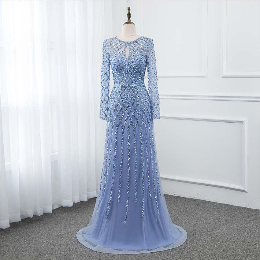 YQLNNE 2019 Blau Langarm Prom Kleider Kristalle Pailletten Formale Kleid Zipper Zurück Gold Silber Erhältlich YQLNNE