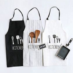 Adjustable Print Pattern Apron Chef Waiter Kitchen Cook Apron With Pockets Polyester Halter Bib Delantal Cocina For Man Woman