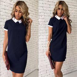 2018 New Women Fashion Straight Shirt dress Bodycon Vestidos Spring Summer Short sleeve Patchwork Pink Gray club Party dresses