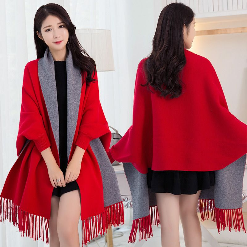 Poncho d'hiver Femme avec manche châles et enveloppes Pashmina rouge épaissir écharpe étoles Femme Hiver chaud réversible Ponchos et Capes