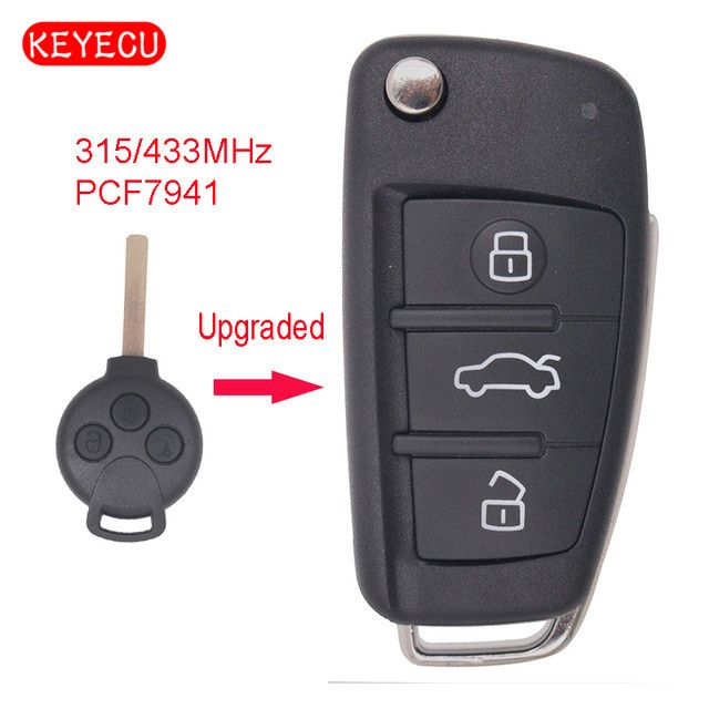 Keyecu Upgraded Flip Remote Car Key Fob 3 Button 315/433MHz Optional PCF7941 for Benz Smart Fortwo 451 2007-2013