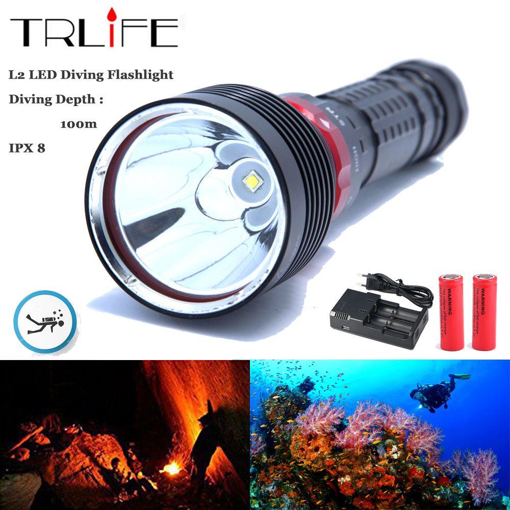 IP8 Underwater Dive Flashlight L L2 Waterproof Scuba Torch 8000Lums Rotate Switch 100M Depth Use 26650 Battery
