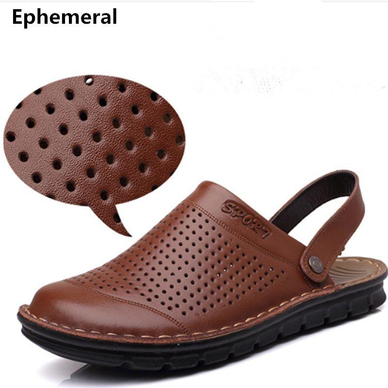 Pantoufles microfibre pas cher pour hommes taille 48 véritable cuir véritable sangle arrière Rivet plat découpes plage sandales chaussures tongs Camel
