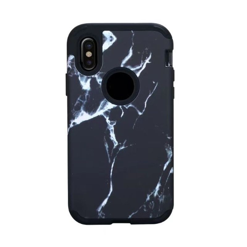 Shockproof Case For Apple iPhone X Dual Layers Marble Texure Hybrid Hard PC Rubber Back Phone Case for iPhone X