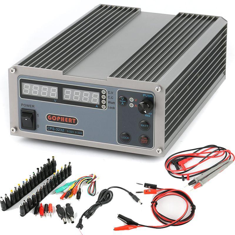 GOPHERT Kompakte MCU PFC Digitale Einstellbare Repair Labor Schalter DC Power versorgung OVP/OCP/32 V 32A + AC DC Jack Set + Sonde