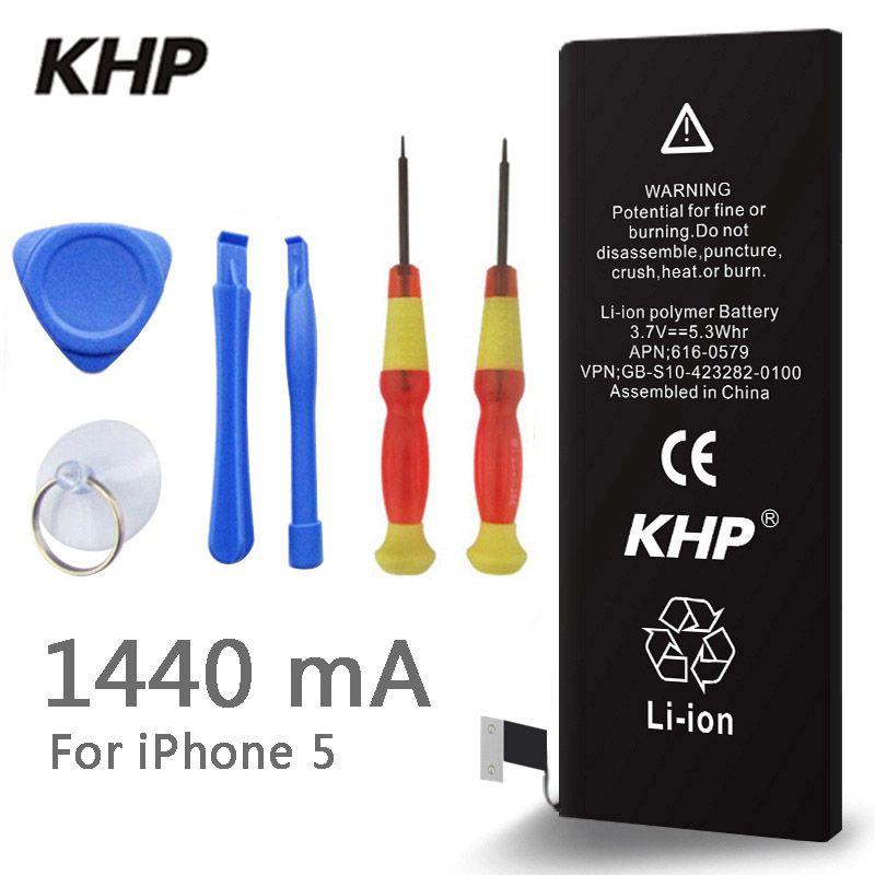2017 New Original KHP Téléphone Batterie Pour iphone 5 5G Capacité réelle 1440 mAh Avec Outils Kit de Remplacement Mobile Batteries 0 cycle
