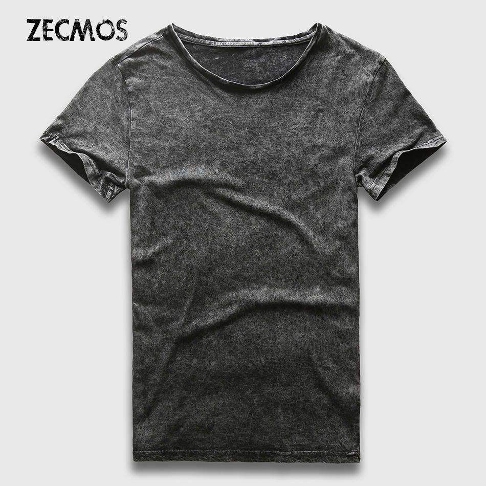 Zecmos New Fashion T-Shirt Men Marble Black Wash Vintage T Shirt Men Cotton Slim Fit Top Tees Male Acid Heavy Washed