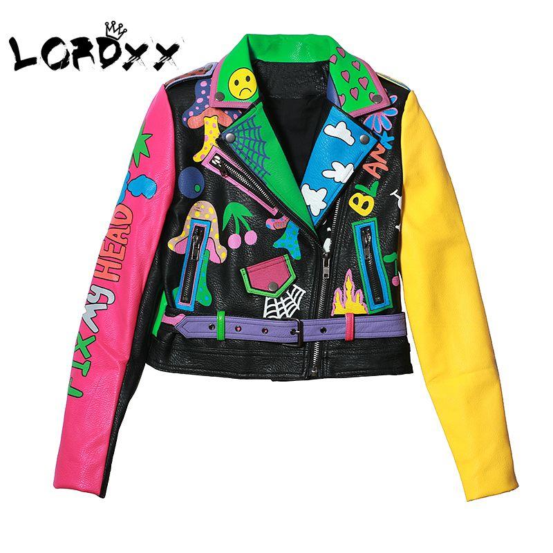 LORDXX Colorful Rainbow Jacket Women 2018 New Fashion print yellow sleeve Street Short Leather Jacket Zipper Motorcycle Coat