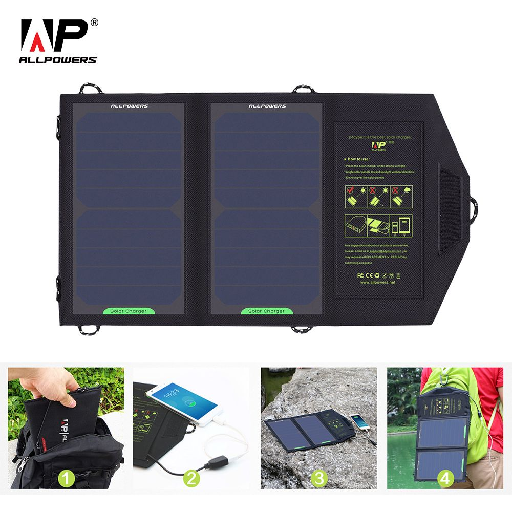 ALLPOWERS Solar Charger 10W 5V 1.6A Solar Panel Charger Portable Solar Battery Solar Cells Chargers for Smart Phone Tablet