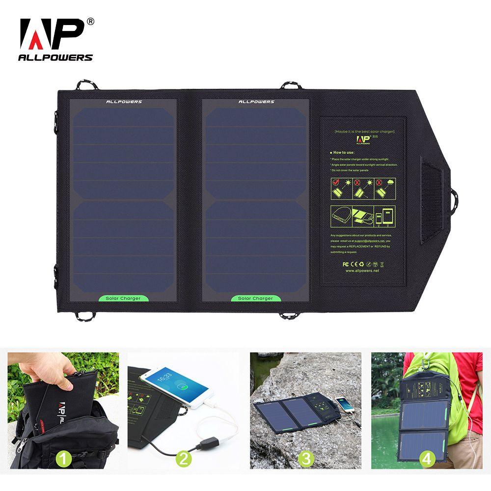 Chargeur solaire ALLPOWERS 10 W 5 V chargeur solaire chargeur de batterie solaire Portable chargeur pour téléphone pour randonnée etc. en extérieur.