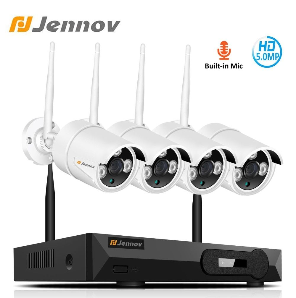 Jennov 5MP 4CH Wireless Security Kamera System NVR Kit Video Überwachung IP Kamera Im Freien WiFi CCTV Set H.265 Audio System