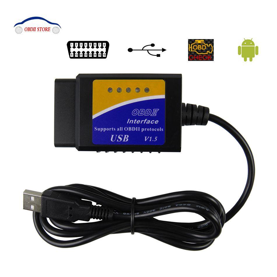 ELM327 Scanner d'interface diagnostique de voiture d'usb V1.5 OBD2 ELM 327 V 1.5 outil de Diagnostic OBDII ELM-327 Scanner de lecteur de Code OBD 2