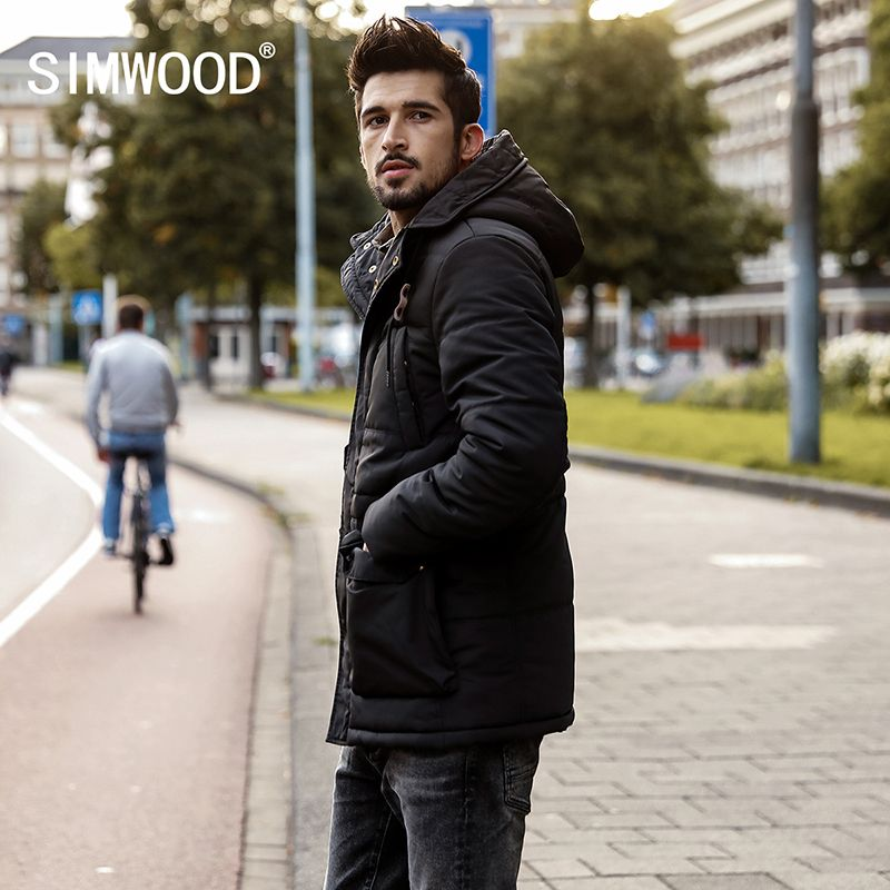 SIMWOOD 2018 Winter Parka Men Thick Coats Male Slim Fit Pocket Jackets Fashion Casual Puffer Hooded Outerwear MC017006